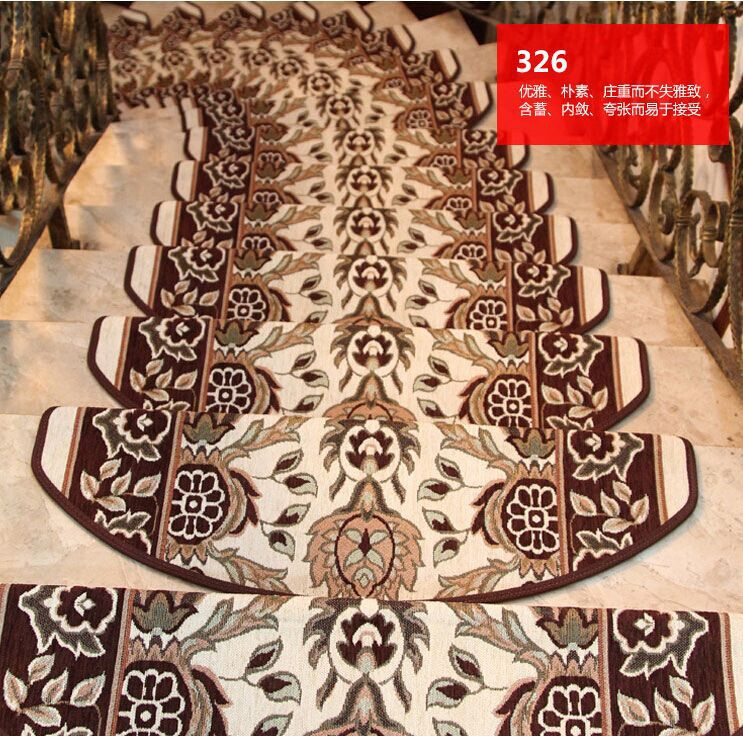 13Pieces Stair Carpet Sets Slip Resistance Stair Tread Mats Step Rug For Stair 24X75cm Fit For 25cm Width Stair