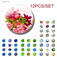 Flowers Fridge Magnet Refrigerator Magnetic Sticker Chinese Peony Peonies Rose Dandelion Leaf Glass Dome Ornaments Home Decor
