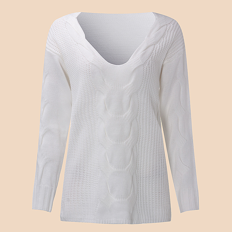 Women Autumn Sexy V Neck Sweater 2018 Long Sleeve Loose Casual Pullovers Twisted Sexy One Shoulder White Knitwear Jumper Sweater