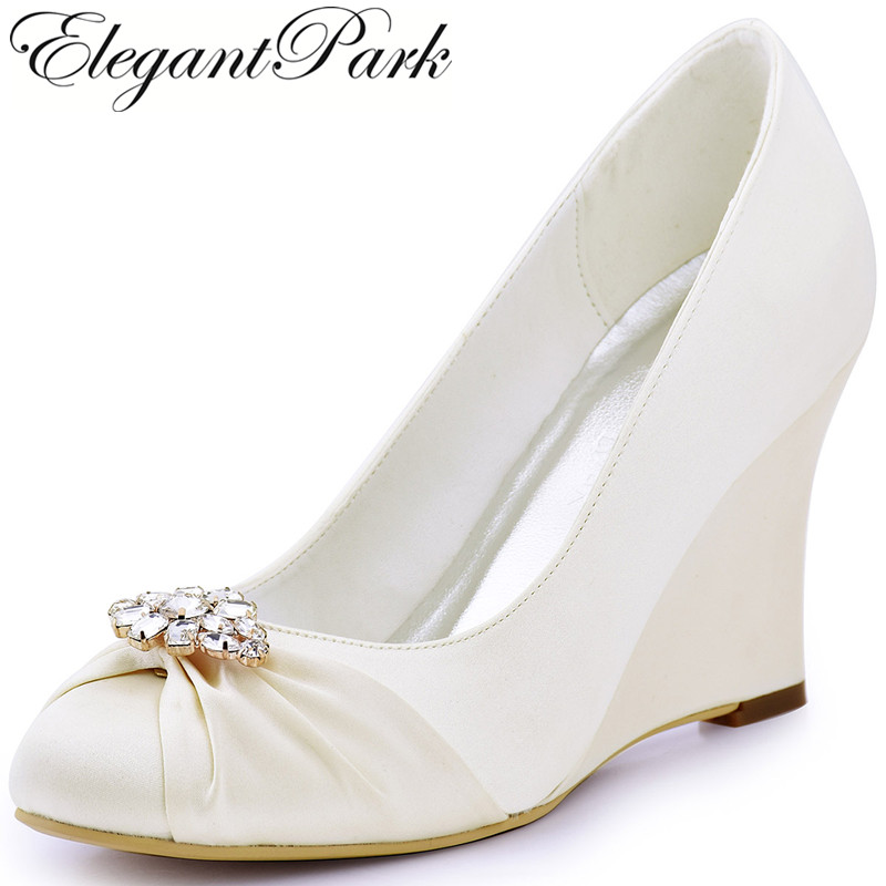 EP2005AL Women Wedges High Heel Wedding Bridal Shoes Ivory Closed Toe Rhinestones Comfort Satin Lady Bride Evening Prom Pumps