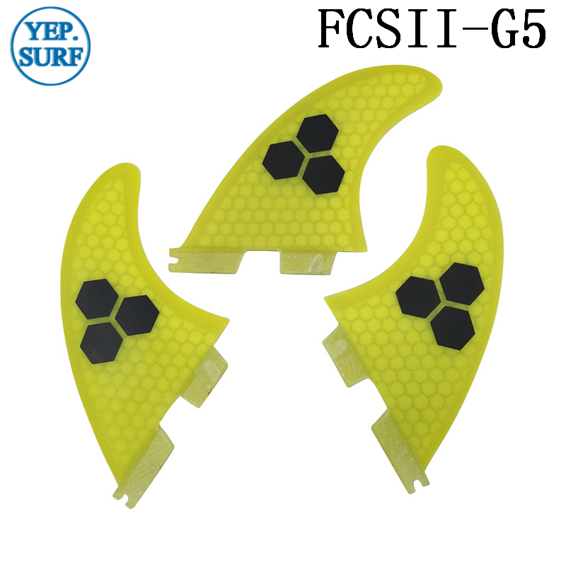 Surf Fins FCS2 G5 Fin Honeycomb Surfboard Fin Yellow color surfing fin Quilhas thruster surf accessories in Surfing from Sports Entertainment