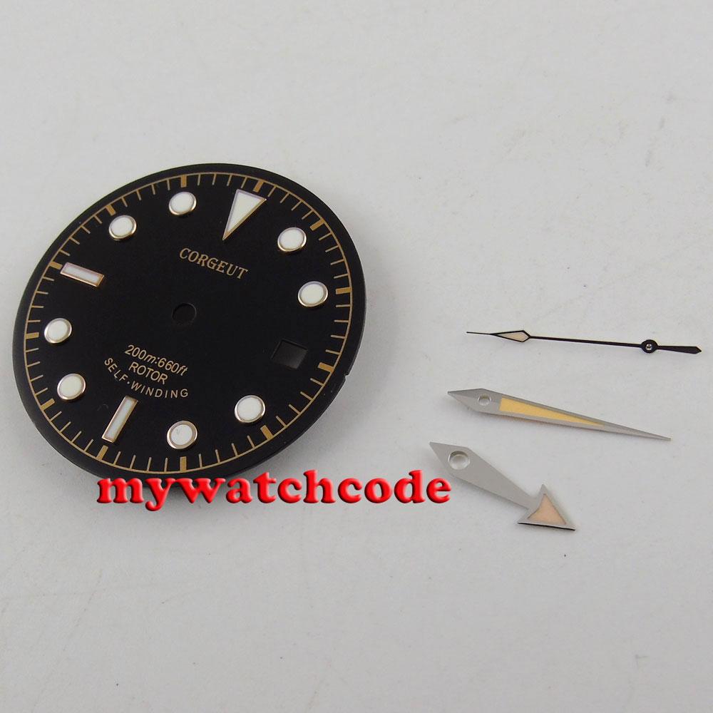 30.4mm black dial luminous Watch Dial for ETA 2824 2836 Movement (dial + hands) watch dial dial for watch 2824 dial - title=