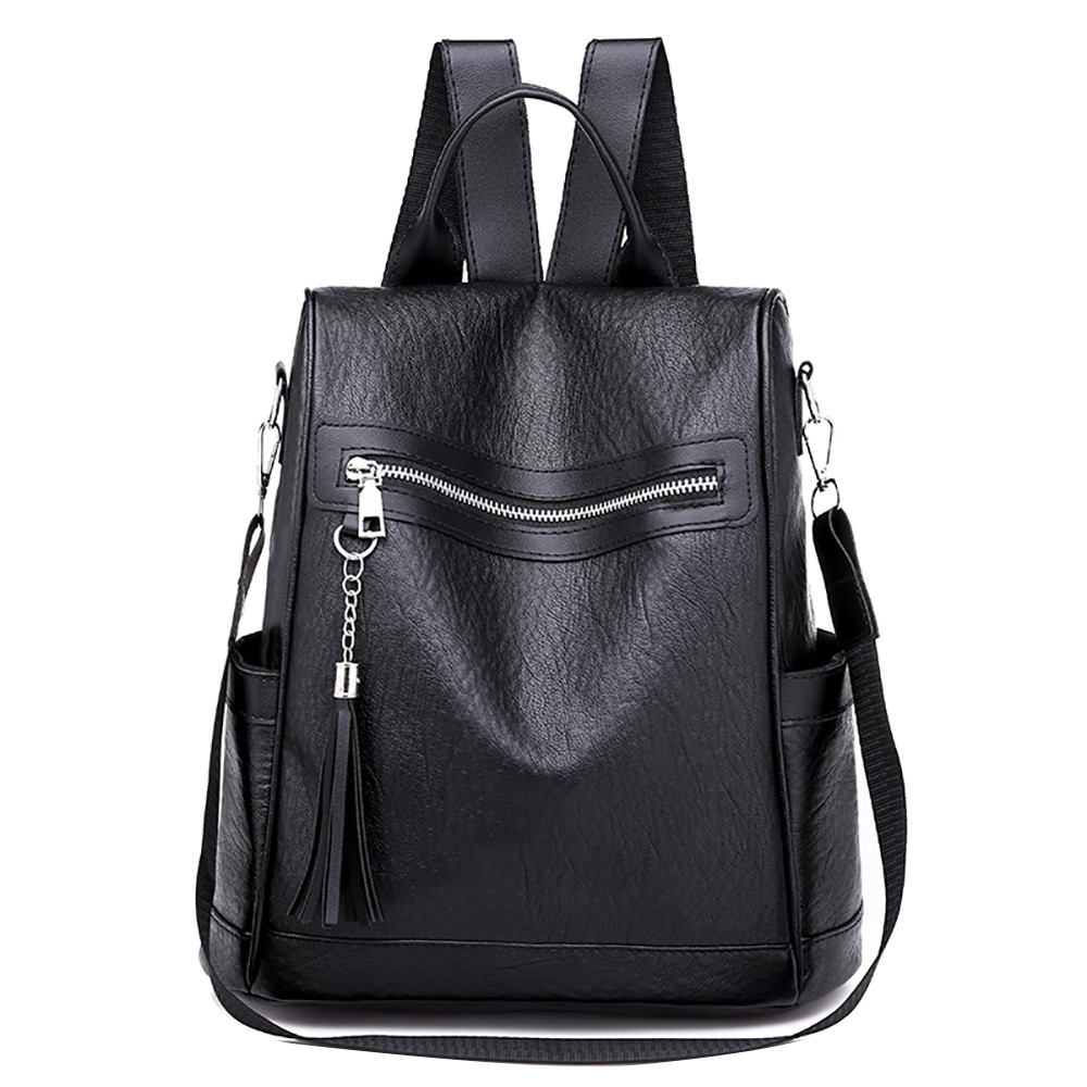 Women Backpack Casual Soft Leather Wild Simple Tassel Backpack Anti-theft Bag Mochila Mujer Antirrobo Soft PU Leather Women Bag