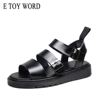 E TOY WORD Summer womens Sandals Buckle Open Toe Beach Sandals Genuine Leather platform Sandals Women Gladiator Sandals