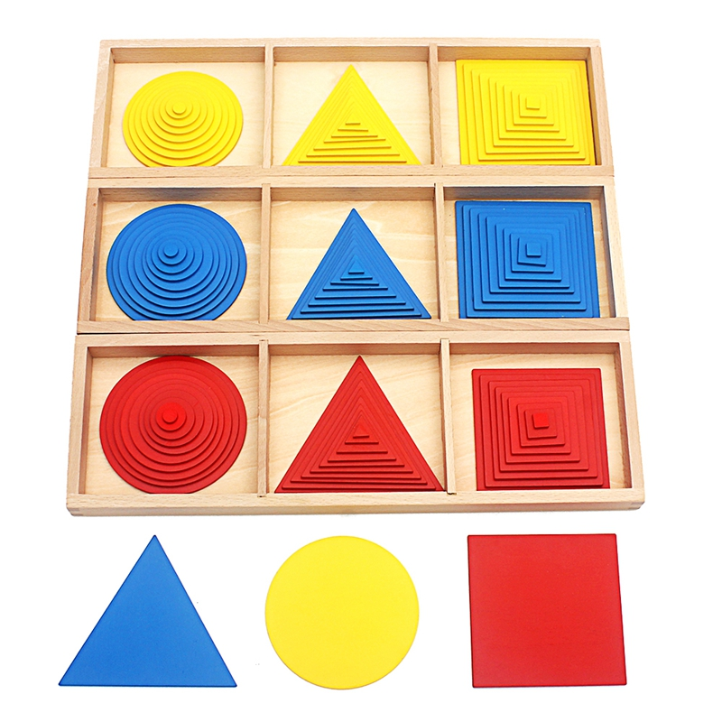 Bébé Jouet Montessori Cercles Carrés Triangles Jouets Sensoriels Education Formation Préscolaire Enfants Brinquedos Juguetes