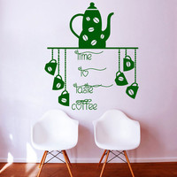 Teapot Coffee Cup Art Wall Decals Time To Taste Coffee Kitchen Wall Stickers Vinyl Kitchen Waterproof