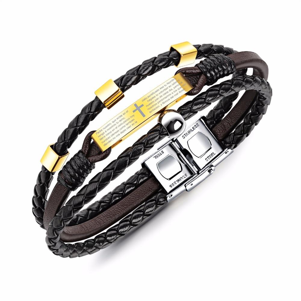 Vintage handwoven leather rope, titanium steel cross, biblical punk leather bracelet