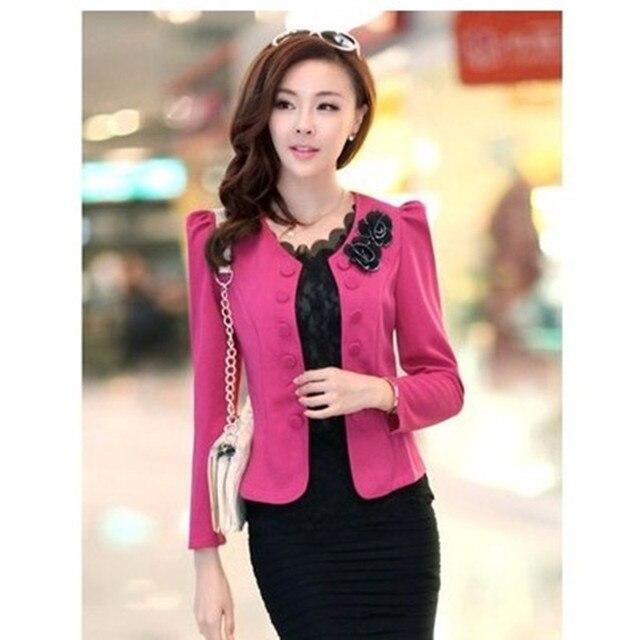 e2841b2a1e 2015 New Blazer Feminino Fashion Solid Casual Bow Print Plus Size Spring  And Autumn Korean Style Suits Blazer Women 6826