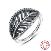 Authentic 925 Sterling Silver Tropical Palm Leaf Ring For Women Ancient Silver Engagement Jewelry Rings Fashion