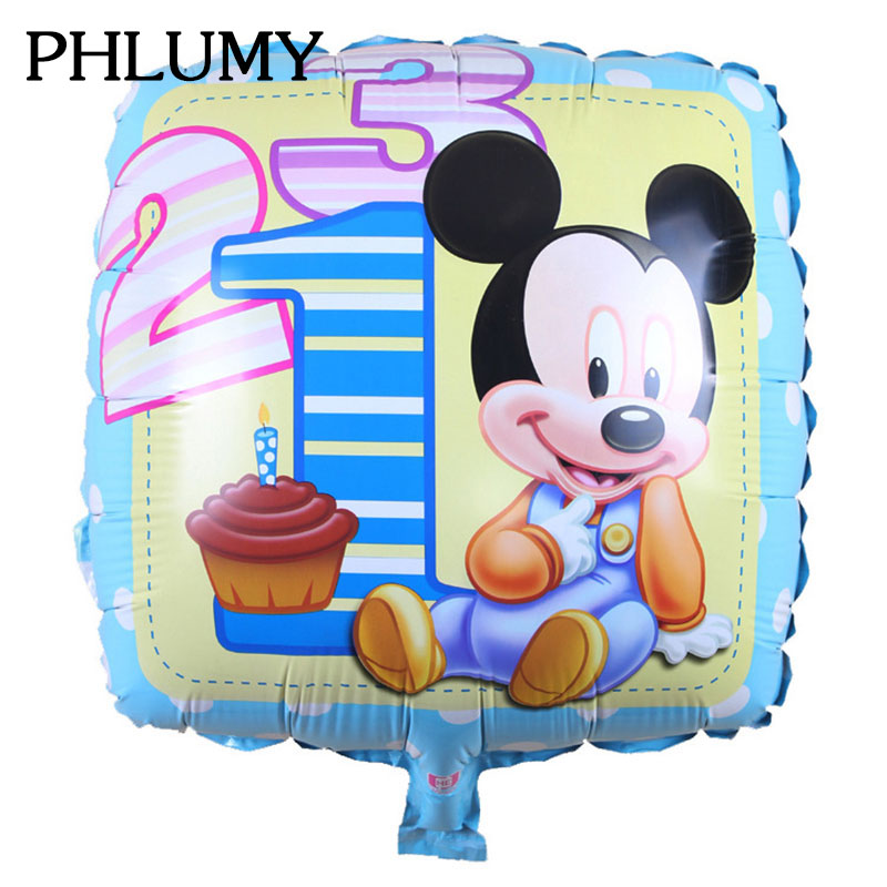 PHLUMY Mickey Minnie aluminum balloons square childrens toys birthday party balloons decorated balloons wholesale 45cm*45