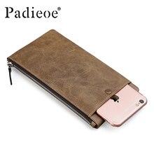 Padieoe männer lange brieftasche aus echtem leder geldbörse berühmte marke kreditkartenetui designer reißverschluss handtasche für männer