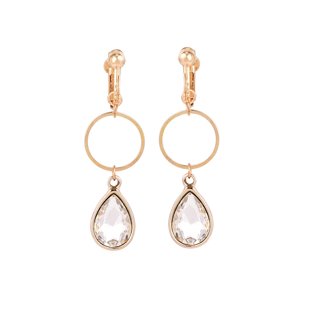 New Water Drop Colorful Crystal No Hole Ear Clip Earrings Gold Color Fashion Circle Without Piercing For Women Brincos Jewelry In From