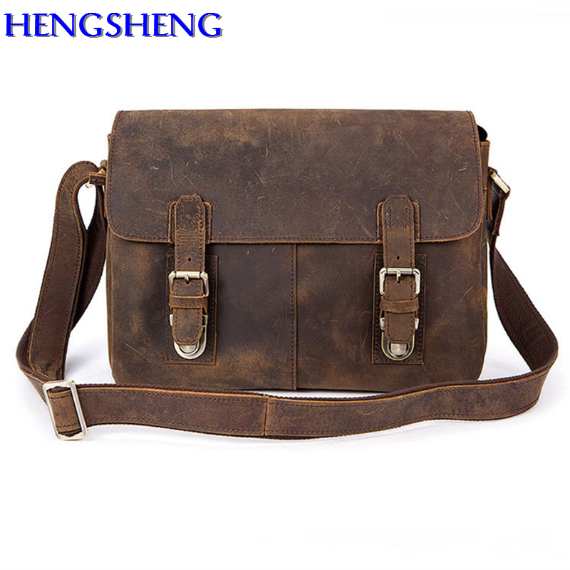 Hengsheng newly style genuine leather men shoulder bag with quality cow layer leather man messengers bag of fashion men bags aetoo the new oil wax cow leather bags real leather bag fashion in europe and america big capacity of the bag