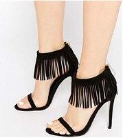 0428bf7dfd Hot Sale Summer Tassel Style Ankle Warp Sandal Shoes Women High Heels  Fringed Women Pumps Solid