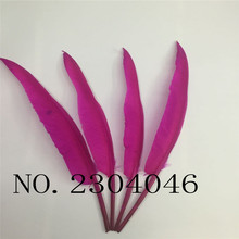 2beautiful hunchback turkey feathers 14-16 inches / 35-40cm goose plum red DIY feather decoration process