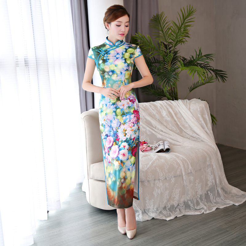 a985dcd7b9 New Arrival Vintage Print Flower Sexy Rayon Cheongsam Women Slim Chinese  Style Party Dress Novelty Mandarin Collar Elegant Qipao