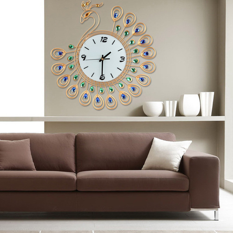 Us 20 97 26 Off Home Decor Wall Clock Quartz Hanging Clocks Diamond Pea Decoration Living Room Decal Sticker In