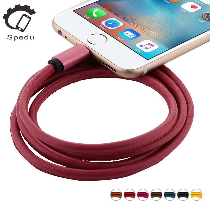 Spedu leather mobile phone cables For iphone 7 se 6 6s plus 5s micro usb cable For samsung xiaomi charger Data line