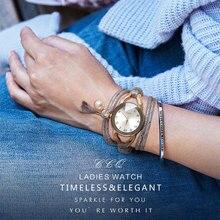 Women Dress Watch Fashion Vintage Gold Crystal Bead Bracelet Watch