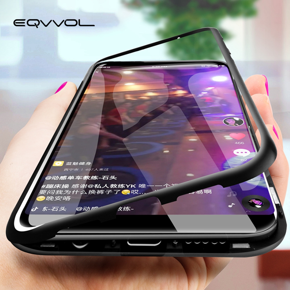 76b8eaa7856 Eqvvol Magnetic Adsorption Metal Case For Samsung Galaxy S9 S8 Plus S7 Edge  Tempered Glass Back Magnet Cover For Note 8 9 Cases