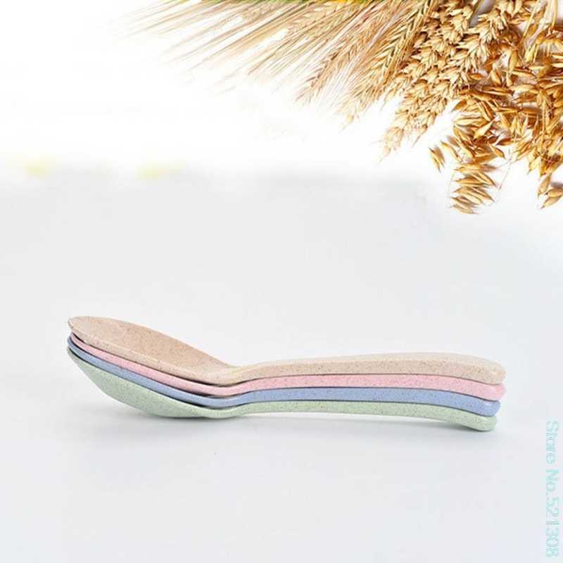 Cuchara de bebé paja de trigo Natural arroz alimentación niños vajilla resistencia al calor bebé amor barco