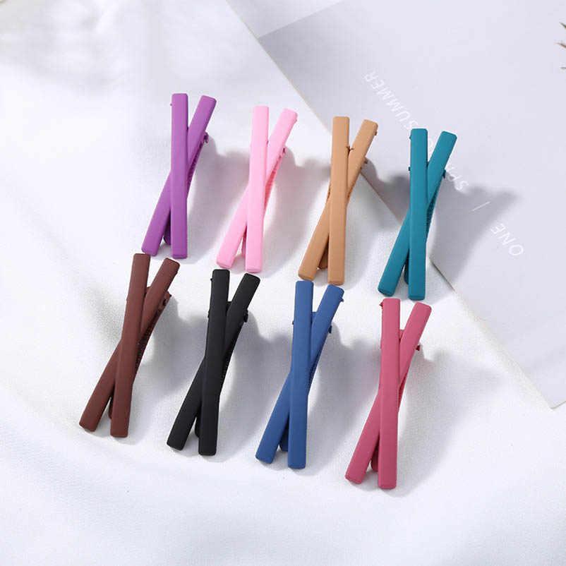 Acrylic Cross Merah Muda Ungu Hitam Coklat Rambut Klip & Pin Klip Barrettes Hairgrips Hiasan Kepala Aksesoris Rambut untuk Wanita dan Anak-anak