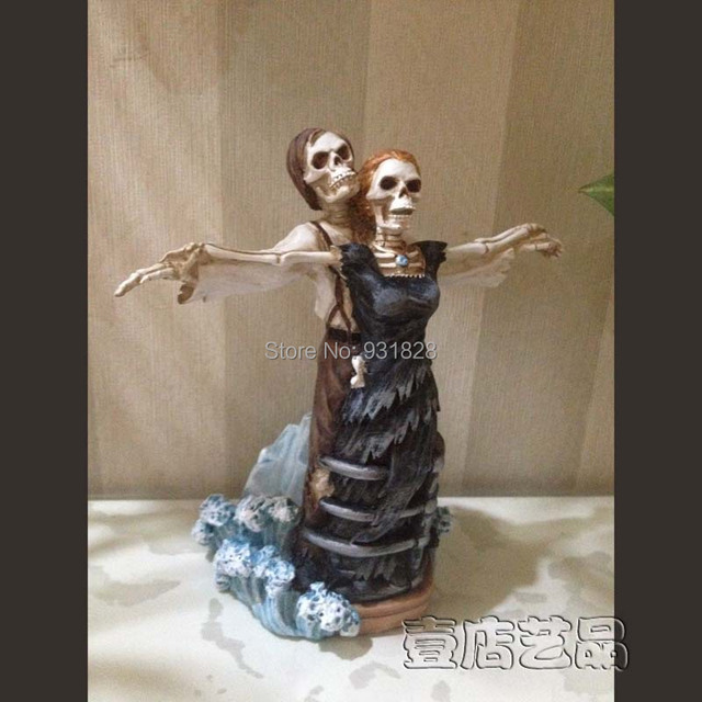Cheap Wedding Cake Toppers Decorations Skull Titanic Bride And Bridegroom Figurine Topper Valentines Day