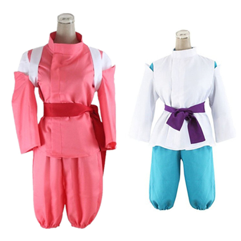 Hot Anime Movie Spirited Away Cosplay Costumes Boys White Kohaku River Kimono and Cute Girls Pink Chihiro Kimono