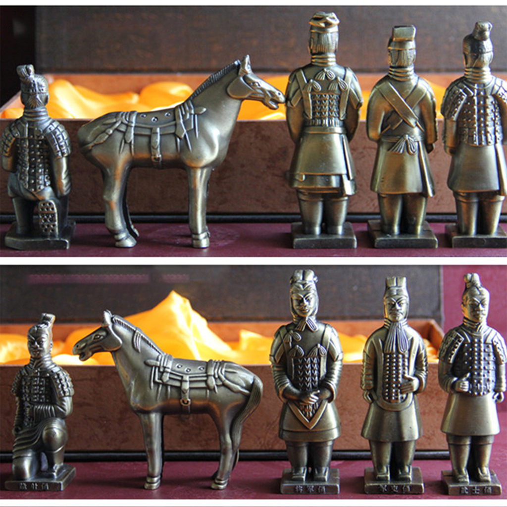 8cm Chinese Terra-Cotta Warrior and Horses Figurine 5pcs Collection Black