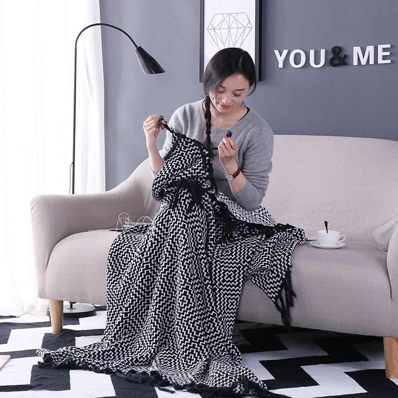 CHAUSUB Quality Cotton Knit Blankets Nordic Simple Blanket For Home Sofa Cover Throw Anti-pilling Knitted Blanket Black White new knitted blankets towels luxury hotels home sofa wool blanket europe leisure jacquard cotton blanket decorative bedding