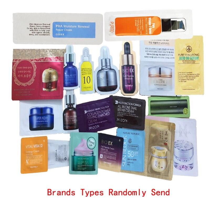 Korea Samples 30pcs MISSHA TONY MOLY MIZON COSRX It's Skin Hydrating Cream Anti Wrinkle Facial Serum Eye Cream Randomly Send