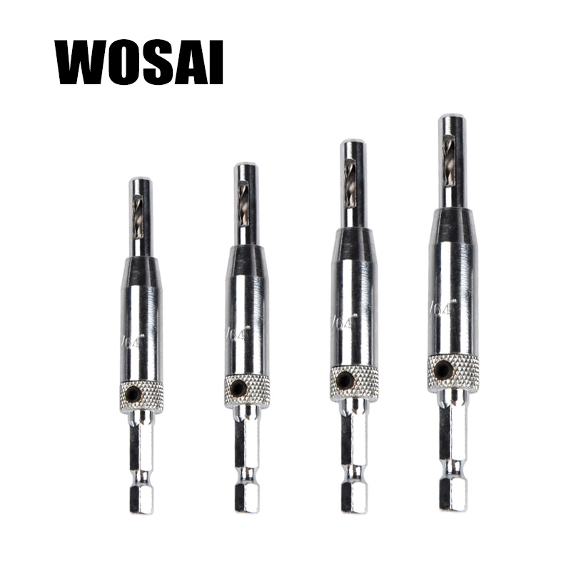 WOSAI 4-delige zelfcentrerende scharnierboorset 5/64 7/64 9/64 11/64 HSS houtgereedschapsgatzaag