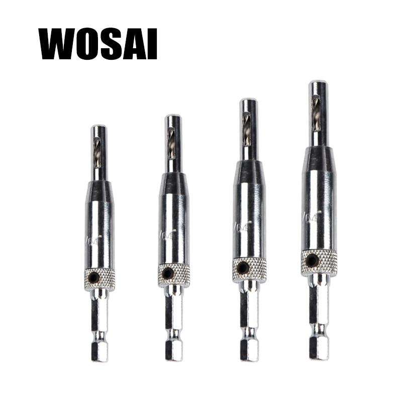 مجموعه بیت مته سخت افزاری WOSAI 4 PC Self Centering Hinge 5/64 7/64 9/64 11/64 HSS