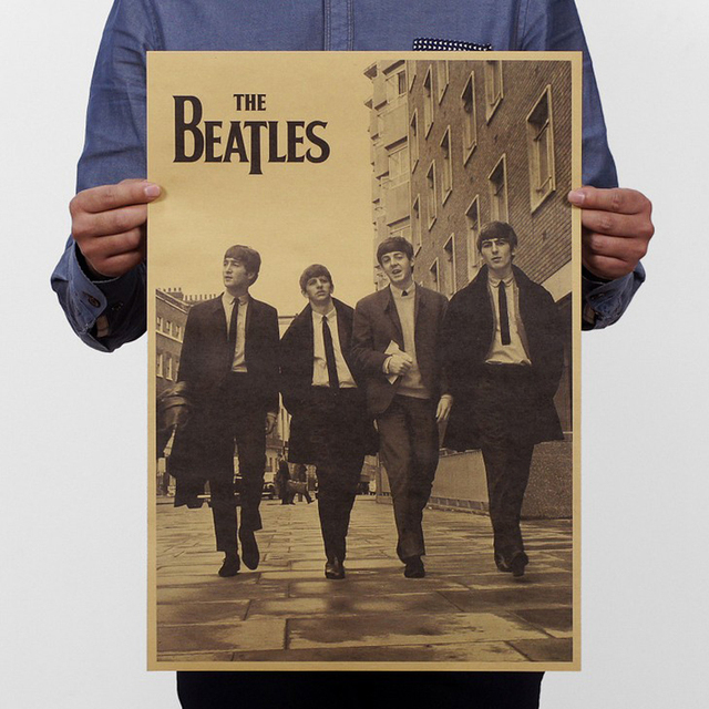Free shipping,The Beatles Rock band/Classic nostalgia/kraft paper/Cafe/bar poster/ Retro Poster/decorative painting 51x35.5cm