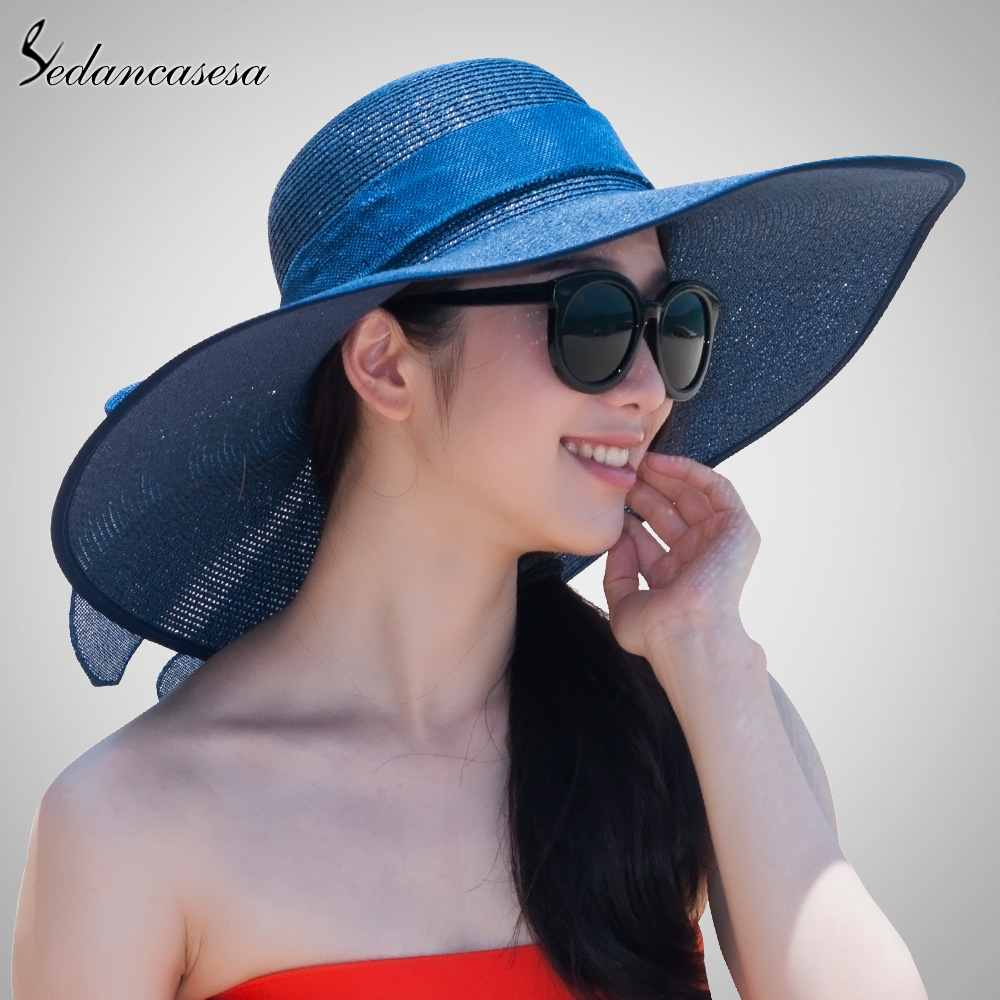 814d626579b 2018 New Fashion Women Ladies Summer Beach Straw Floppy Sun Hat High  Quality Elegant Hats With BowKnot SW012318-in Sun Hats from Apparel  Accessories on ...