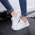 2017 Mujeres de Nueva Moda de Encaje-Up Canvas Lace Up Pisos Solos Zapatos Zapatos Femeninos de Época de Primavera Marca Informal Walker zapatos Dec28