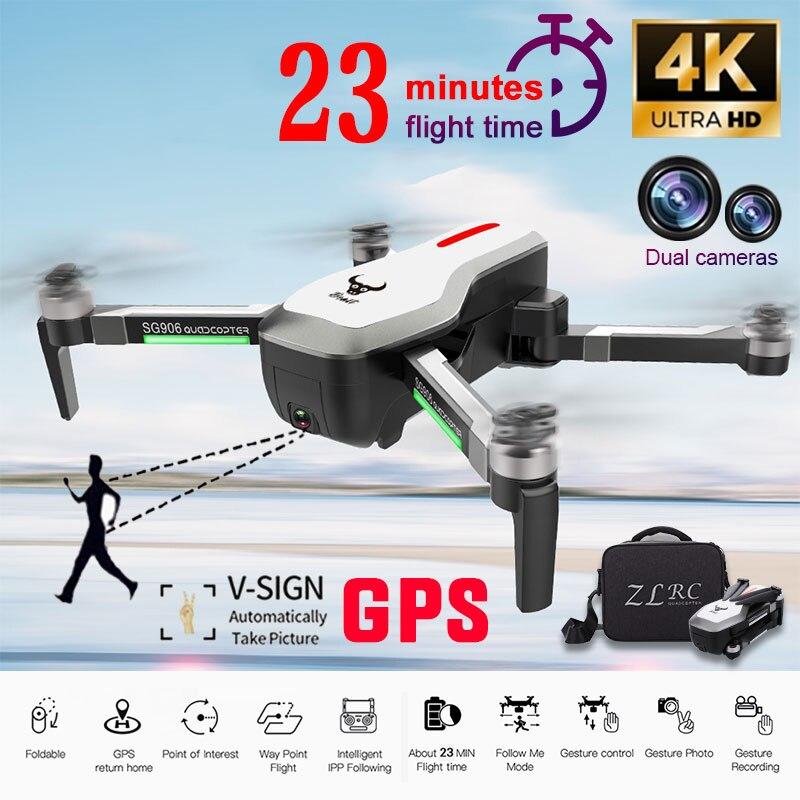 Zangão GPS 5 SG906 G 4 K HD Câmera WI-FI FPV Brushless zangão Selfie Dobrável RC Zangão drones helicóptero Livre saco do Presente quadcopter