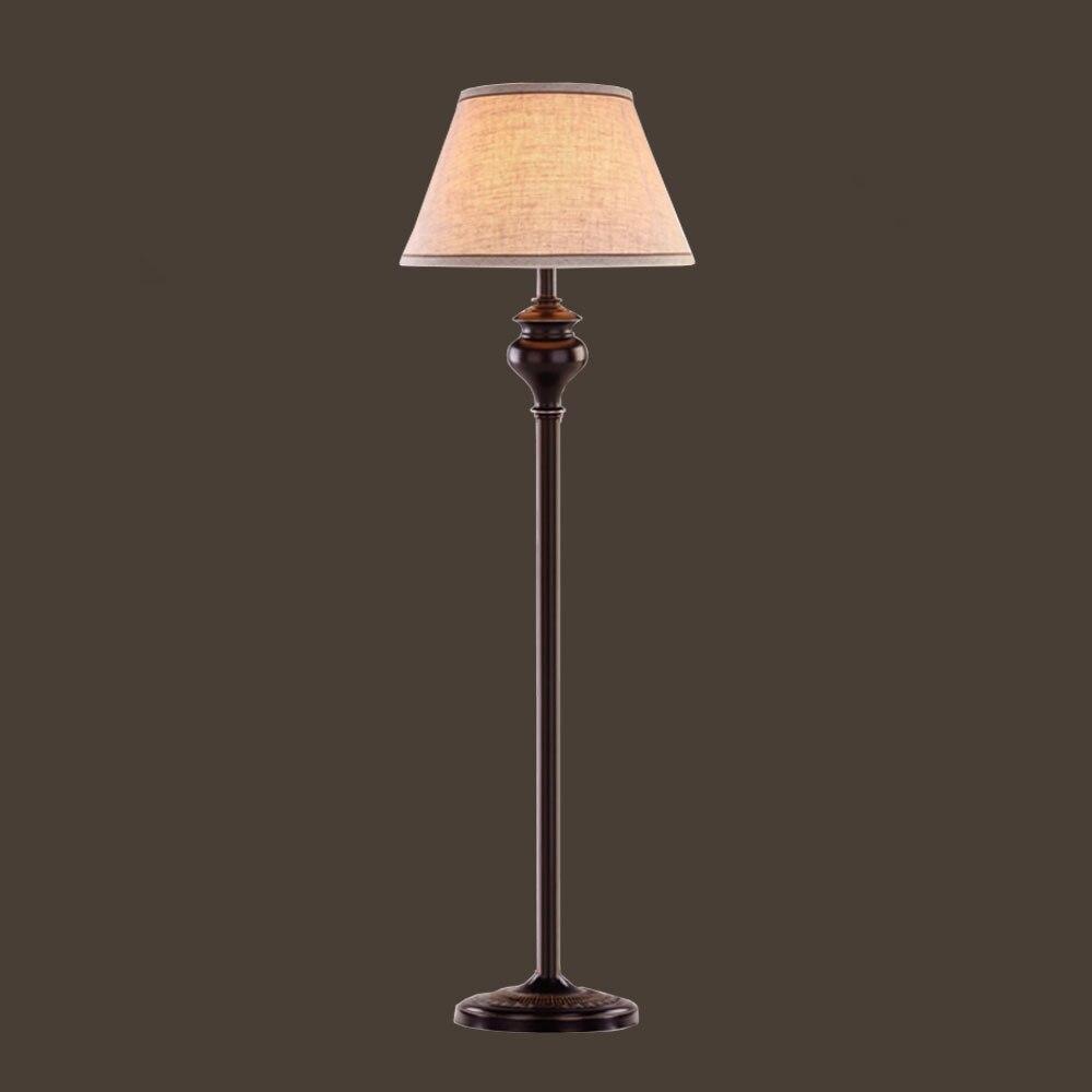 HGHomeart E27 Black Iron Fabric Lampshade Wire Floor Lamps LED American Retro Floor Lamp110/240V Livingroom Residential Lighting