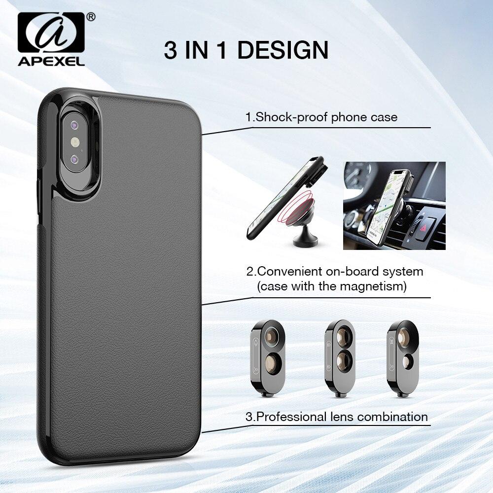 APEXEL Plus Haute Qualité 3 dans 1 Fisheye Kit Grand Angle Téléobjectif Double Macro Lentille Avec PU Étui En Cuir Pour iPhone X, XS, XS Max