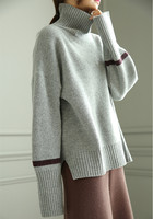 pure cashmere thick knit women new fashion pullover sweater open hem H straight wide loose dark blue 3colors M/XL