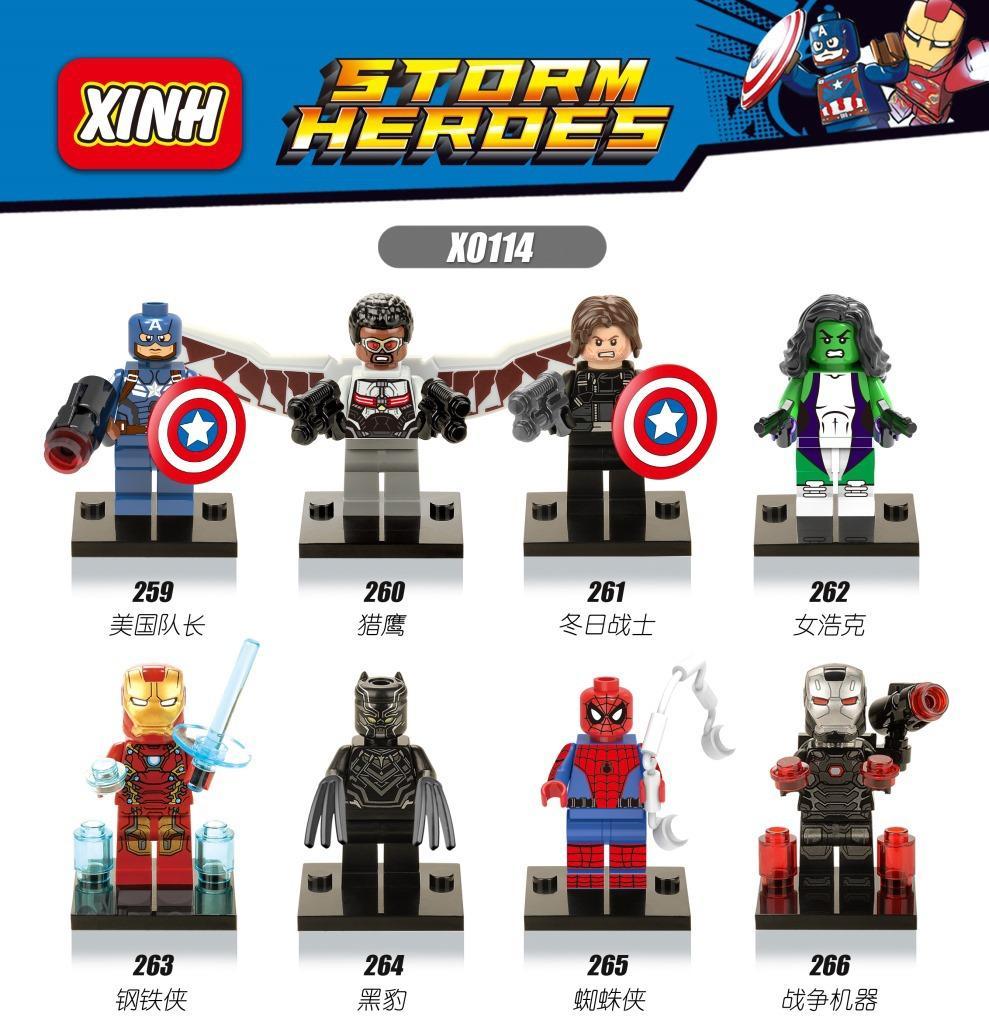 Hot Marvel Captain America: Civil War Falcon She-Hulk Black Panther IronMan gift bricks  Building Blocks toy