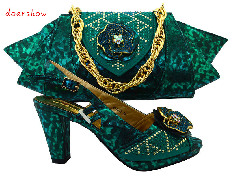 doershow 2017 Newest italy teal shoes and bag set to match african big lace fabric dress wedding party free shipping TMM1-33