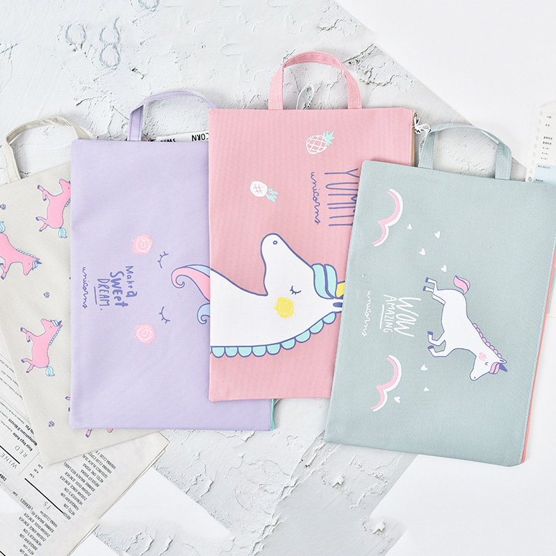 Cute Zipper Unicorn Document Holder Office Folder Storage Fabric Pouch Package for A4 Paper Portable File Folder School Supplies a5 20 page 30 page 40 page 60 page file folder document folder for files sorting practical supplies for office and school
