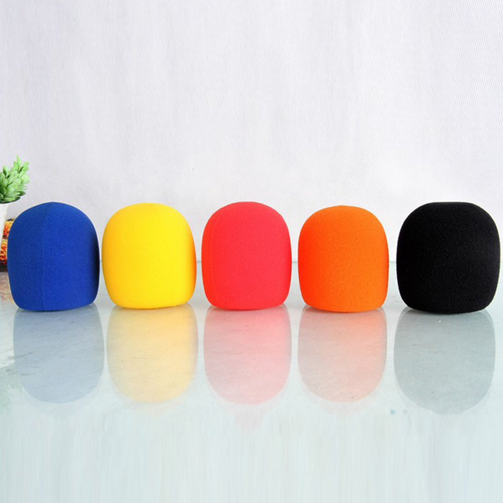 5Pcs/Bag Handheld Stage Microphone Windscreen Foam Cover Thick Durable Microphone Case Black/Red/Yellow/Orange/Blue