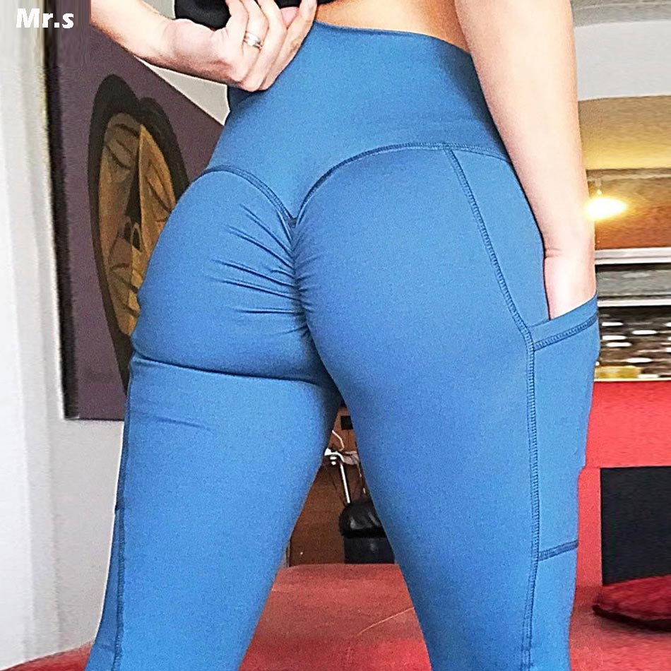 DIQIAN High waist Booty yoga pants for women fitness push up yoga legging compression blue workout gym tights side pocket pants
