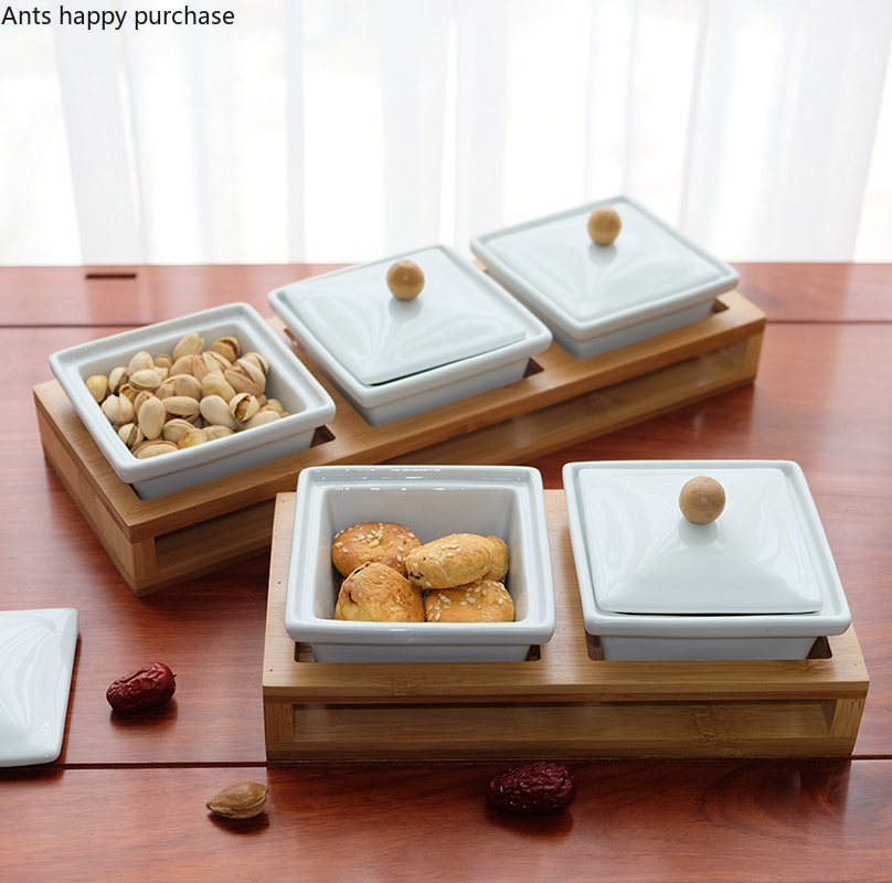 ceramic bamboo tray cake dessert bowl cap ceramic bowl band tray pudding ice cream plate set dishes and plates sets