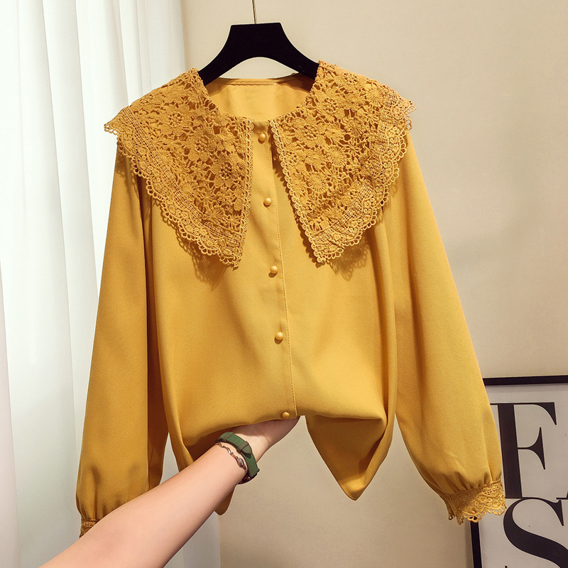 2019 new fashion women's adult clothing lace stitching shirt autumn and winter Korean students baby collar shirt