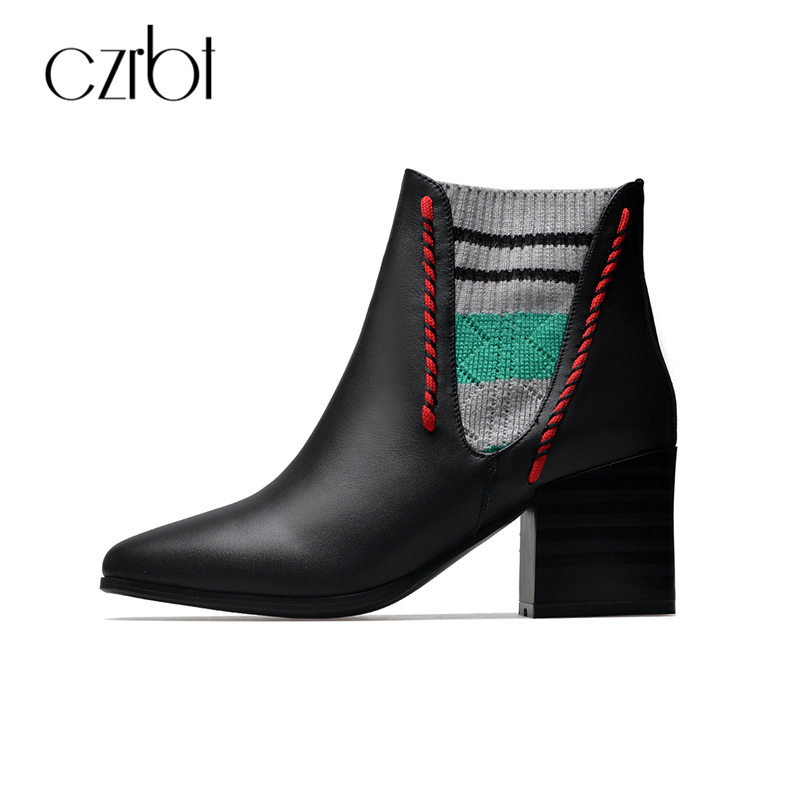 CZRBT Women Boots Autumn Winter Genuine Leather Chelsea Boots Woman High Qyality Knitting Wool Square Heel Black Ankle Boots winter autumn chelsea ankle boots women