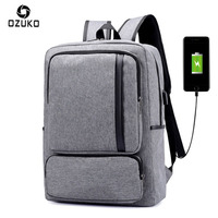 OZUKO Men Canvas Backpack USB Charge 15.6 inch Notebook Computer Leisure Business Affairs Backpack For Teenagers Men School Bags