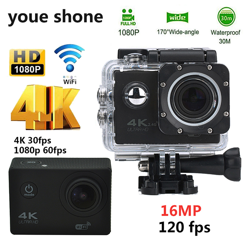 youe shone Waterproof Action Camera 16MP 4K WIFI Ultra Diving 60PFS kamera DV Helmet bicycle Cam underwater Sports 1080P Camera